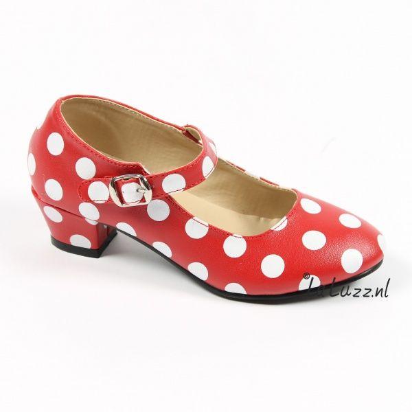 Spaanse schoenen rood/wit www.laluzz.nl