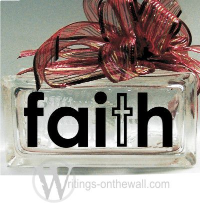 Faith Small Glass Block Vinyl Decal Writings On The Wall - Glass block vinyl decals