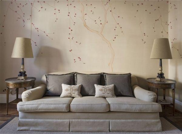 Muster Tapeten Wohnzimmer Beige Polsterdofa Chinesische Blüten