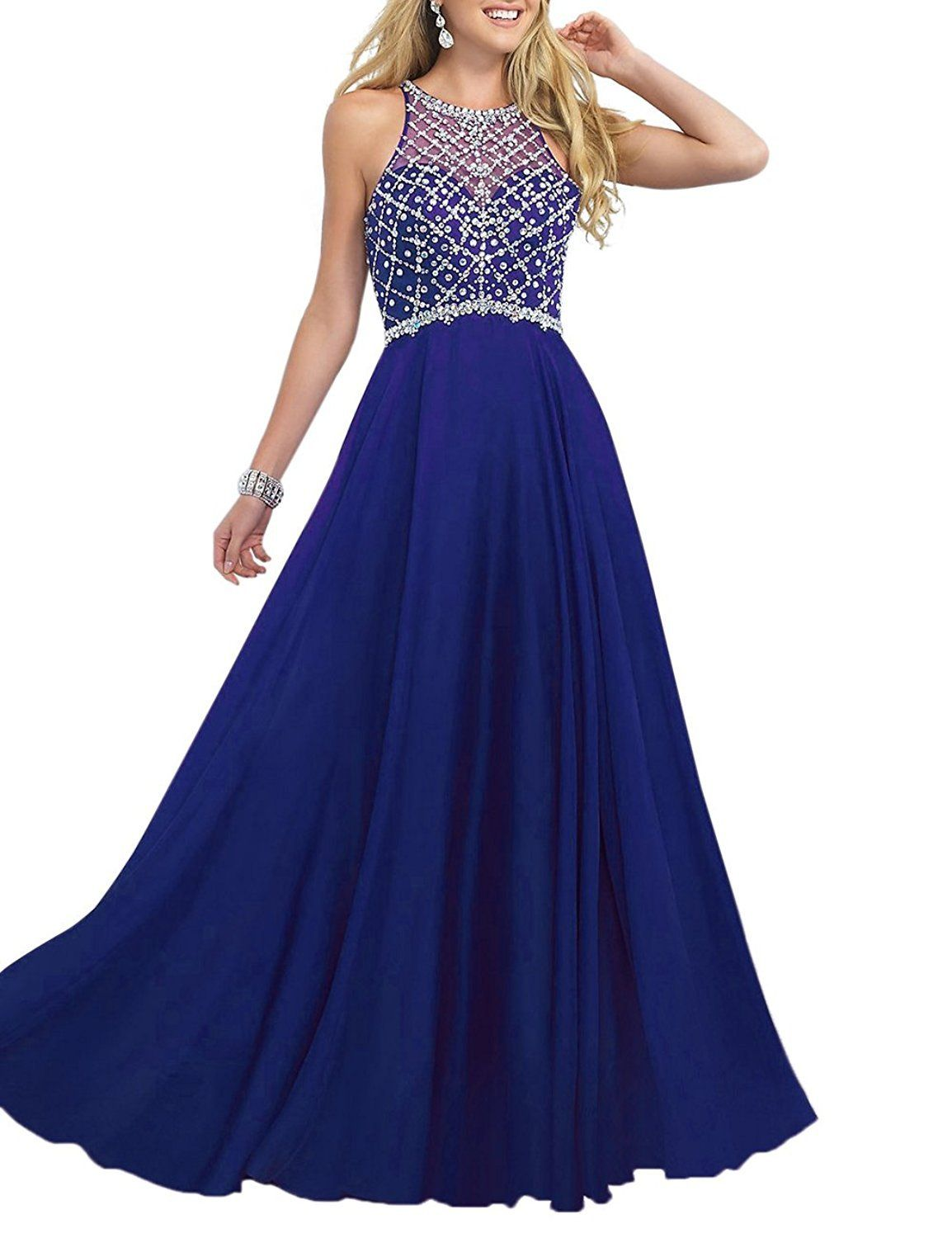 97db3ee291da2 Pettus Womens Scoop Neckline Beaded Ball Gown Formal Evening Dress Chiffon Prom  Dresses Long    For more information