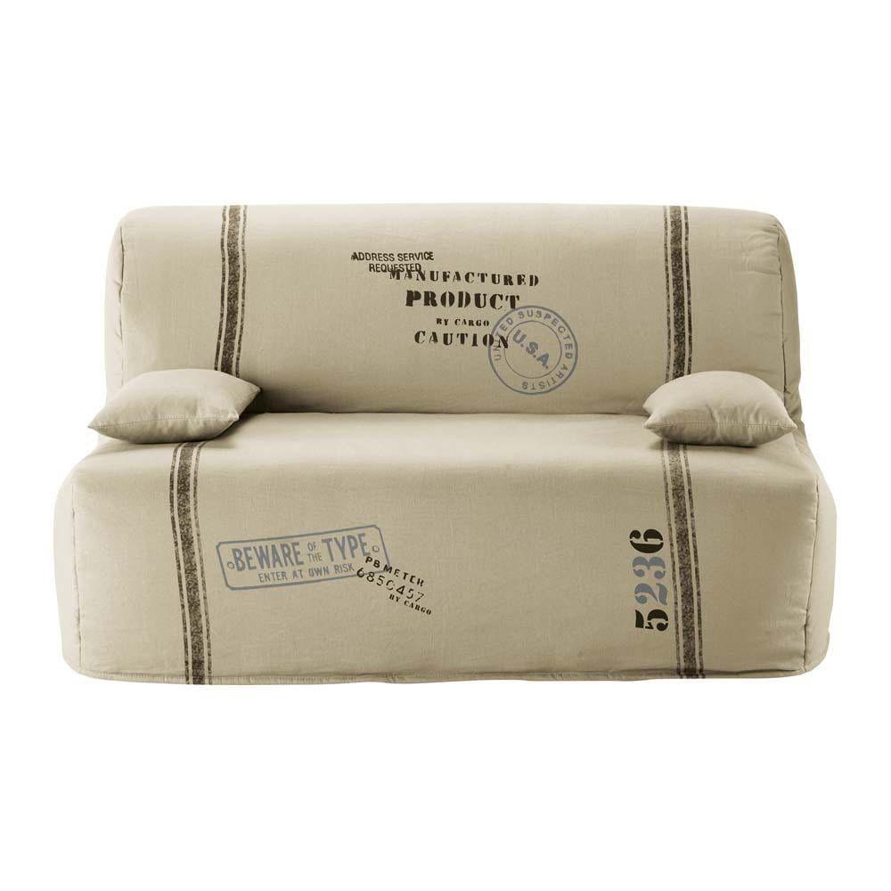 Cotton Z Bed Sofa Cover In Beige Maisons Du Monde Canape Bz Canape Cuir Pas Cher Housse Canape