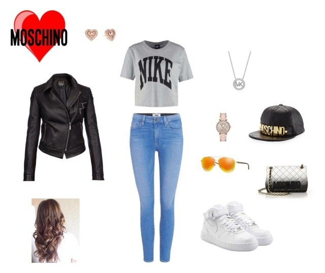 """""""Angel thang (MOSCHINO)"""" by twix-dxciv ❤ liked on Polyvore featuring NIKE, Paige Denim, Barbour International, Michael Kors and Moschino"""