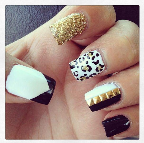 black and white nails | White nail art, White nails and Nail design 2015