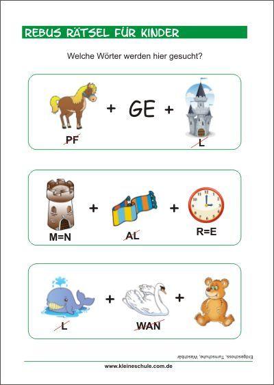 Rebus Rätsel für Kinder - Bilderrätsel mit Lösungen zum Ausdrucken ...