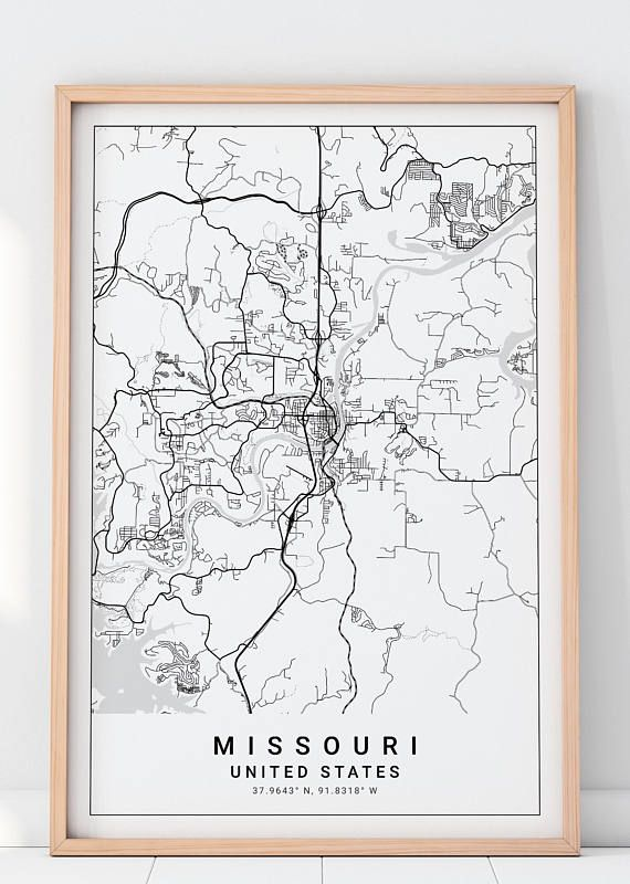 Missouri Map, Missouri Map Print, Jefferson City Map Print ...