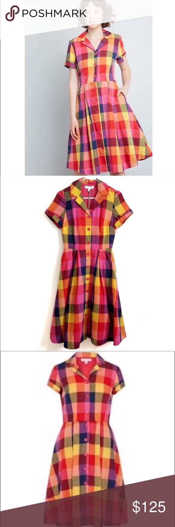 ModCloth x Emily & Fin Kate Rainbow Plaid Dress