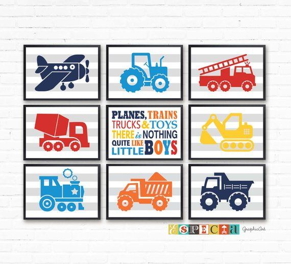 Transportation set of 9 prints car truck wall art Printable A4 posters for toddler playroom decor, Planes trains trucks kids room sign ZIP images