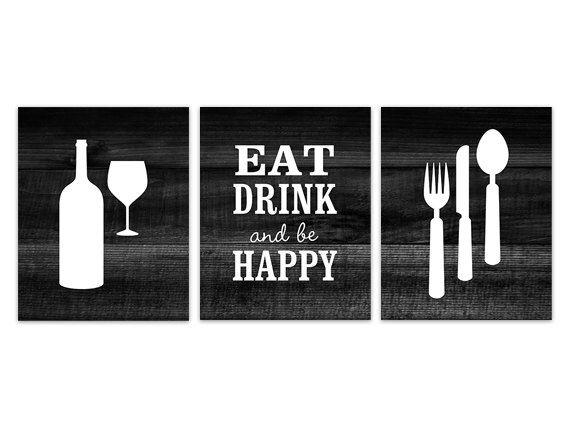 Black Kitchen Wall Art INSTANT DOWNLOAD Fork Spoon Knife Wine Print