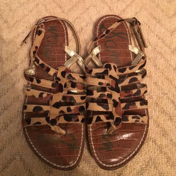 Same Edelman 'Hamilton' sandals leopard print Gently worn sandals. Size 6.5. Leather Upper Sam Edelman Shoes Sandals