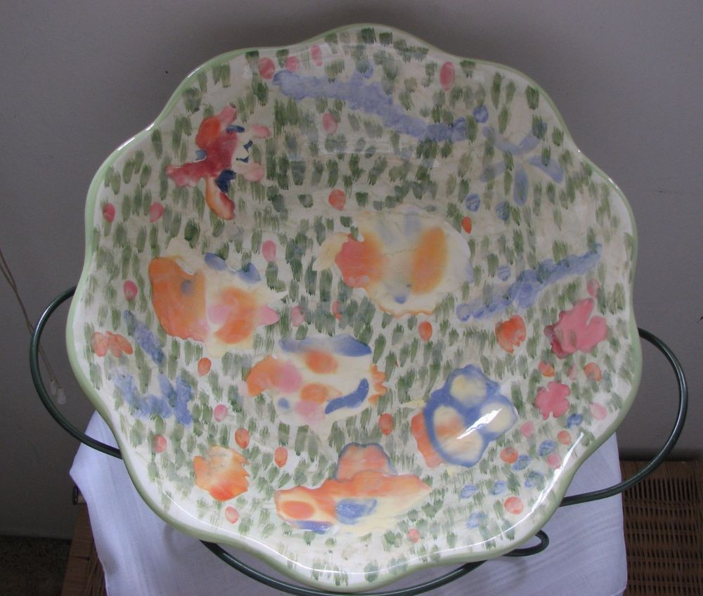 Large Fruit Bowl Centerpiece With Iron Stand Ceramic Fl Abstract Design