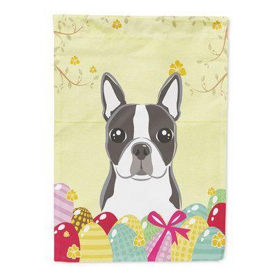 Carolineu0027s Treasures Boston Terrier Easter Egg Hunt 2 Sided Garden Flag