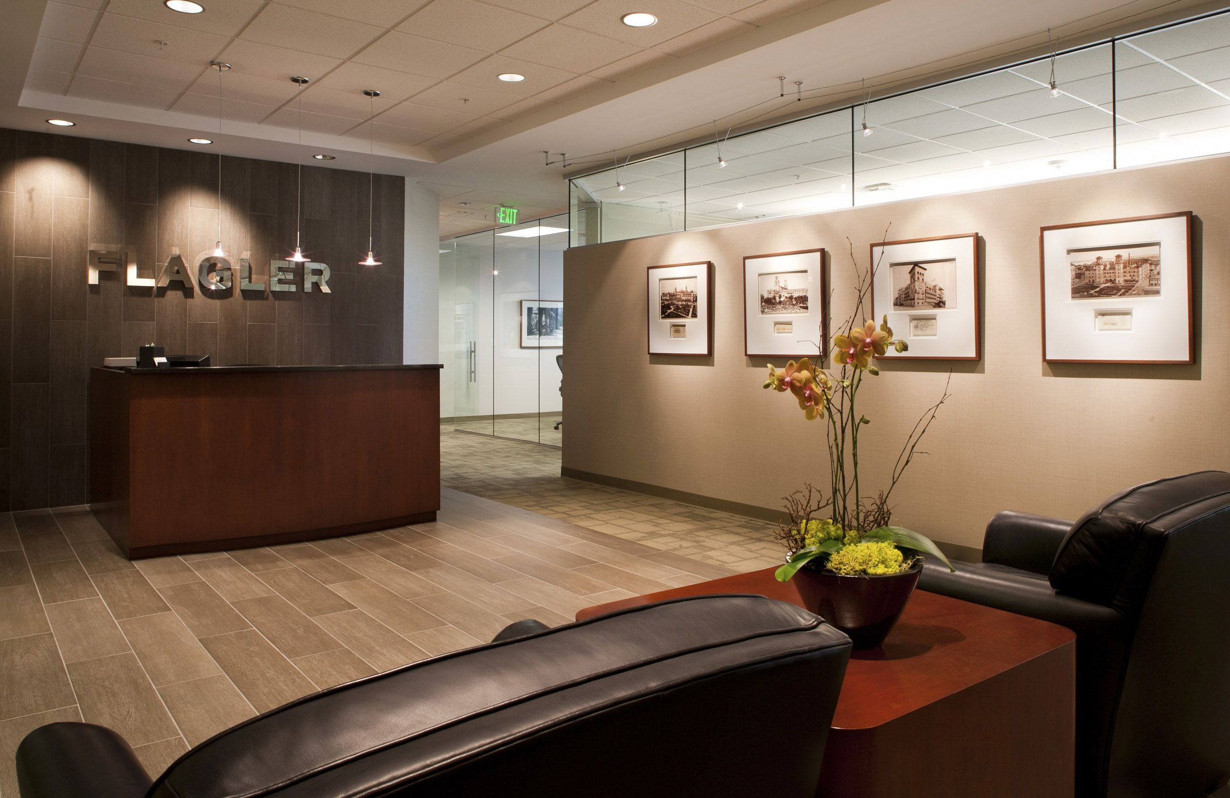 Financial office lobby relocates to deerwood north for Small company office design