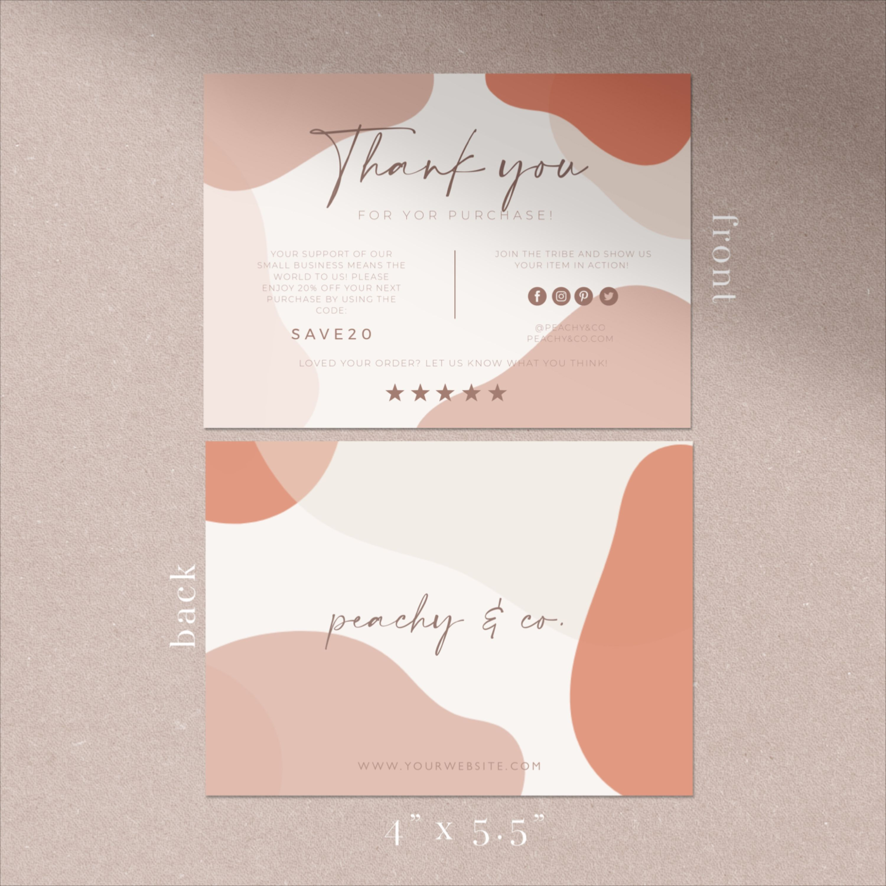 Abstract Modern Brown Blush Thank You Card Small Business Thank You Package Insert Thank You For Your Purchase In 2021 Business Thank You Cards Thank You Cards Business Thank You