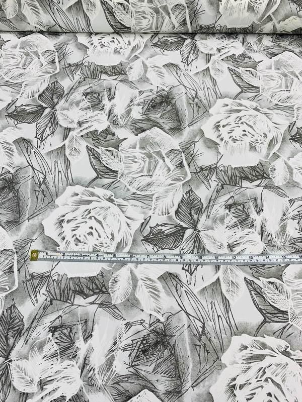 Photo of Floral Sketch Printed Silk Ottoman – Grey / White – Fabric by the Yard