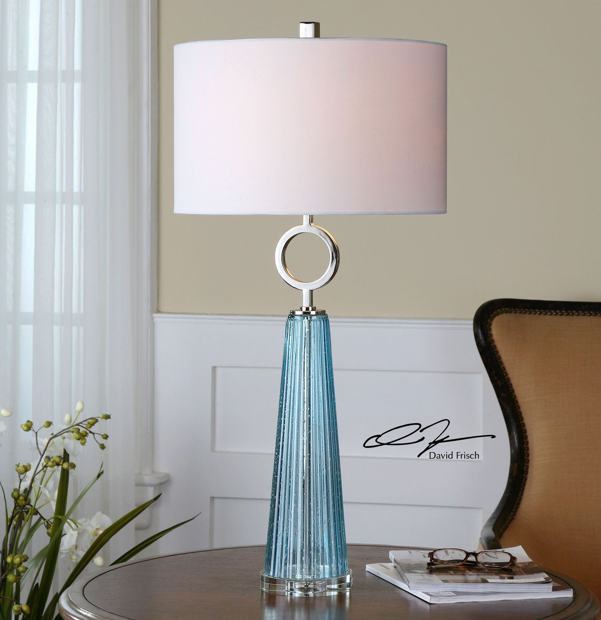 Navier Blue Glass Table Lamp Seeded Blue Glass With A Ribbed Texture  Accented With Polished Nickel Plated Details. The Round Hardback Shade Is A  White Linen ...