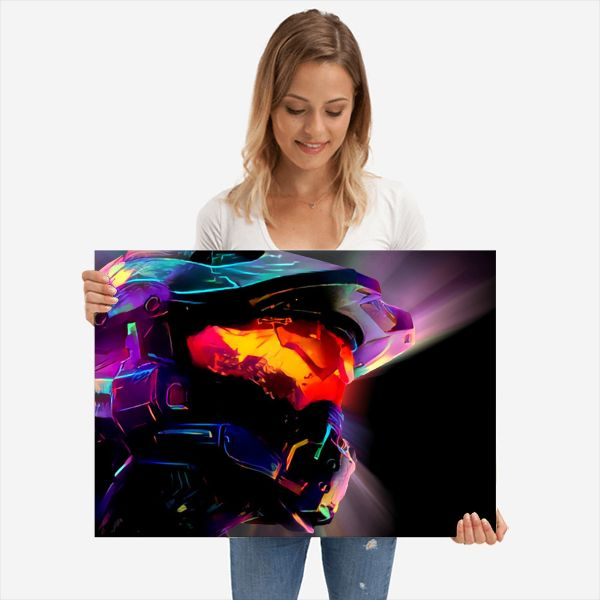 Neon Helmet | Displate thumbnail