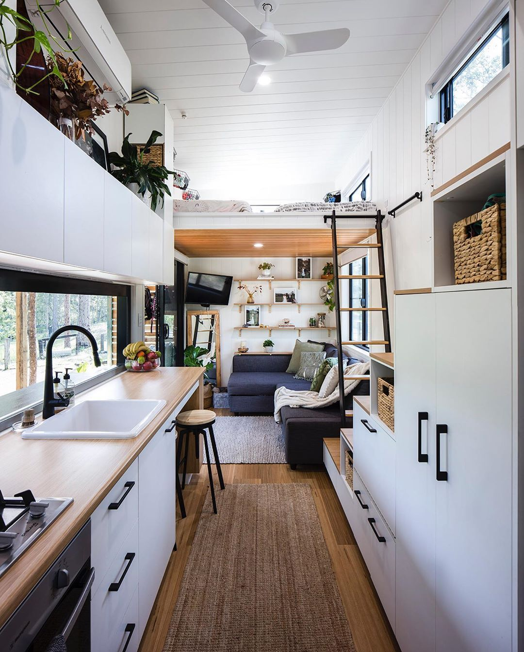 Aussie Tiny Houses On Instagram Would You Like To Live In A Tiny House Like This Kitchen Livin In 2020 Tiny House Loft Tiny House Kitchen Modern Tiny House