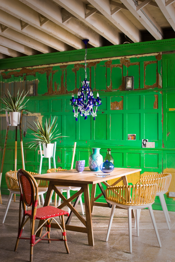 Weathered Green Panels Create The Perfect Backdrop For A Mix Of Clean,  Modern Furniture Pieces. Bright Dining RoomsModern ...