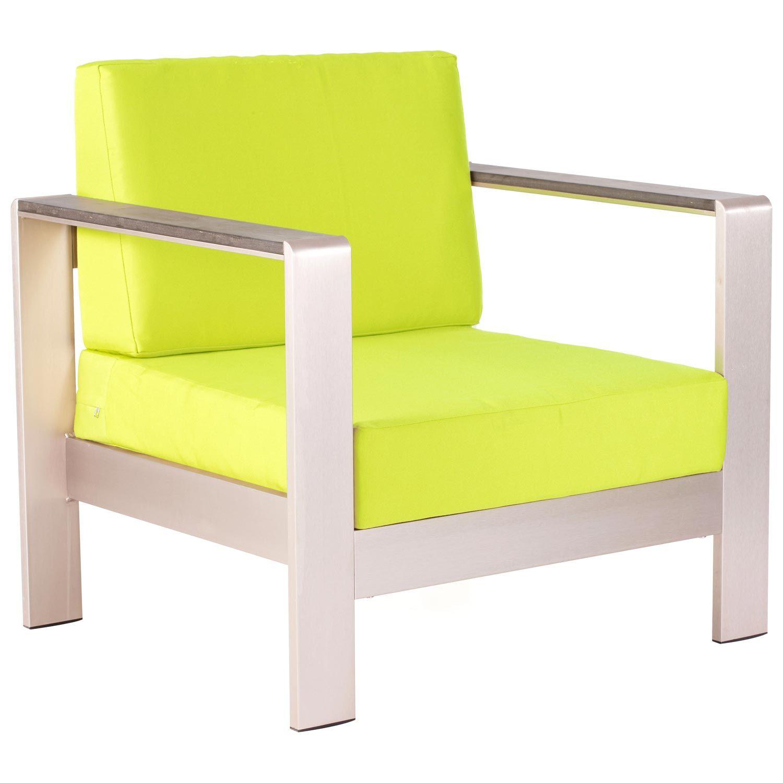 Cosmopolitan Patio Armchair Brushed Aluminum Teak Green Outdoor Chairs Modern Outdoor Furniture Outdoor Patio Chairs
