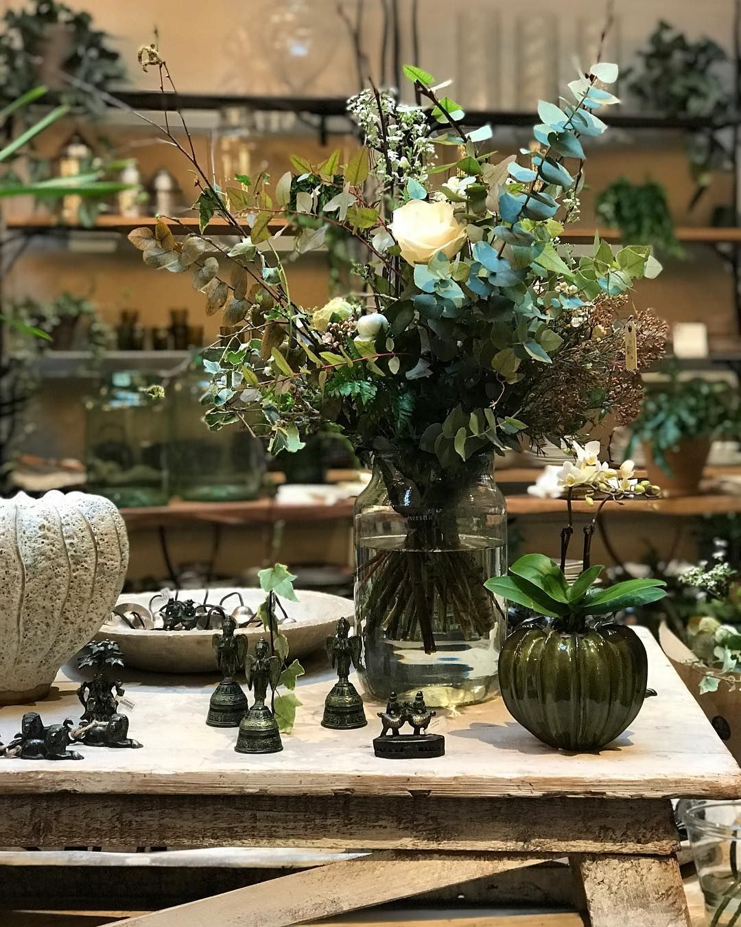 Hades Of Green In Our Covent Garden Shop Abundant With Specialist Indoor Plants Magical Floral Displays And Handcraf Floral Display Garden Shop Indoor Plants