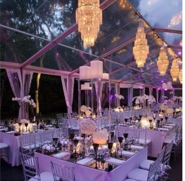 Out door Event Inspiration Hang chandeliers inside your tented area - use glass tent or drapery & Out door Event Inspiration Hang chandeliers inside your tented ...