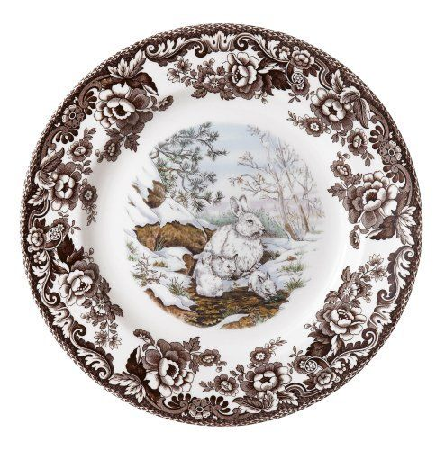 Spode Woodland American Wildlife Collection Snowshoe Rabbit Salad Plate by Spode. $22.05. Dishwasher and microwave Safe. Woodland plate collections are used to decorating the home as well as the table. Made of high quality earthenware. A special study of animals, indigenous to north America was designed for the American wildlife collection, in a touching mother and child theme. Measures 8-Inch. Spode Woodland American Wildlife Collection Winter Scene Salad Plate measures 8 inche...