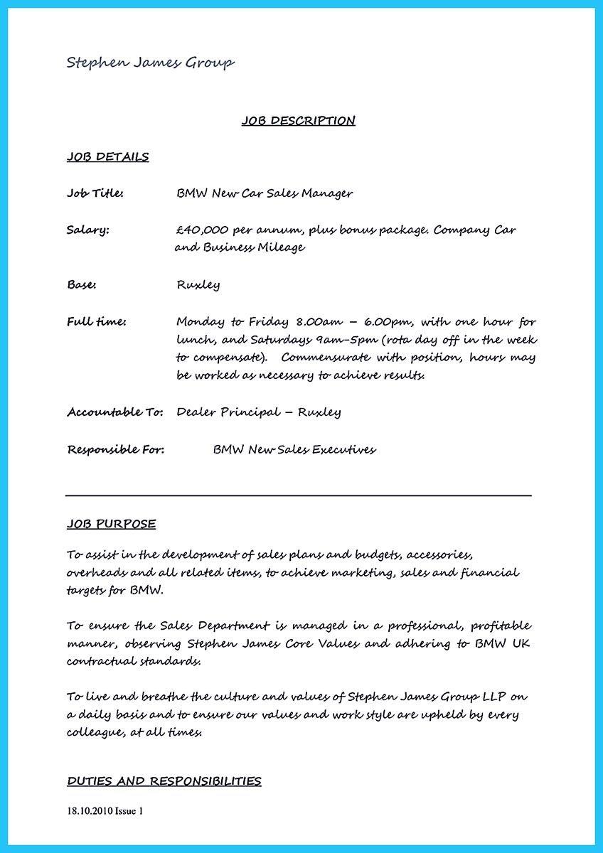 car salesman resume cover letter  resume template  Sales resume Car salesman Resume no