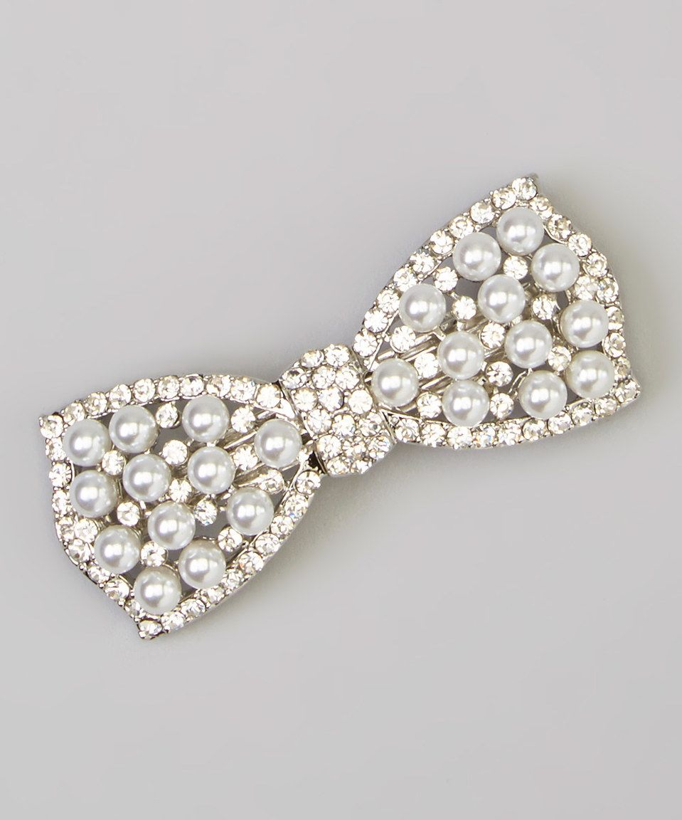 This Charla's Place White Faux Pearl Bow Clip by Charla's Place is perfect! #zulilyfinds