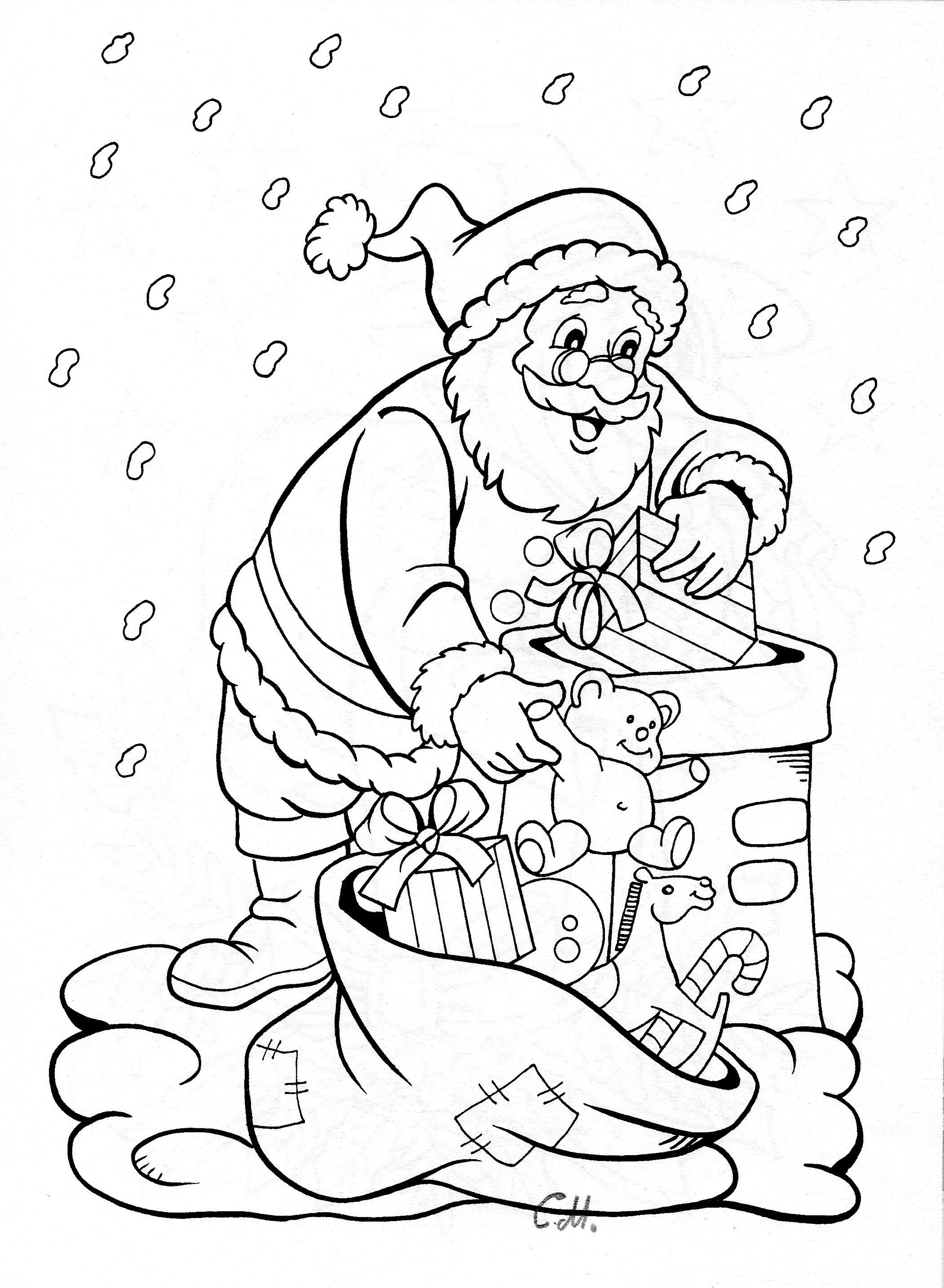 Santa Climbing Down Chimney Printable Christmas Coloring Pages