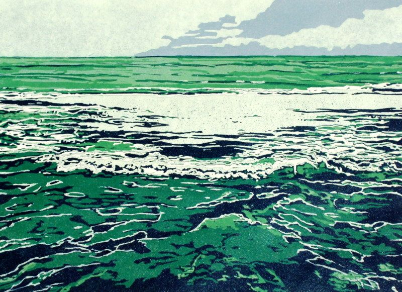Green Sea | Lisa VanMeter | The print was made in the color reduction method: One block of linoleum is carved and inked and printed on a small edition of papers until the image is complete. Navy blue, teal green, smoky blue and creamy white inks were used. The paper is archival Mulberry paper from Thailand
