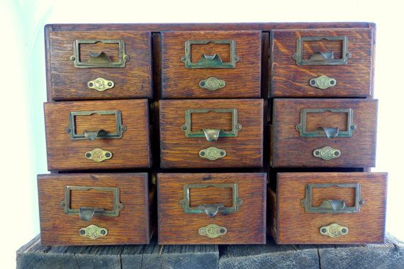 Vintage Library Card Catalog Yawman And Erbe 9 By