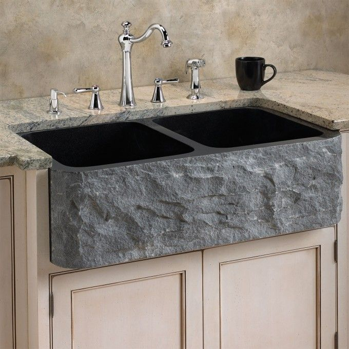 33 Polished Granite Double Bowl Farmhouse Sink Chiseled Apron Black Farmhouse Sink Kitchen Sink Granite Kitchen Sinks