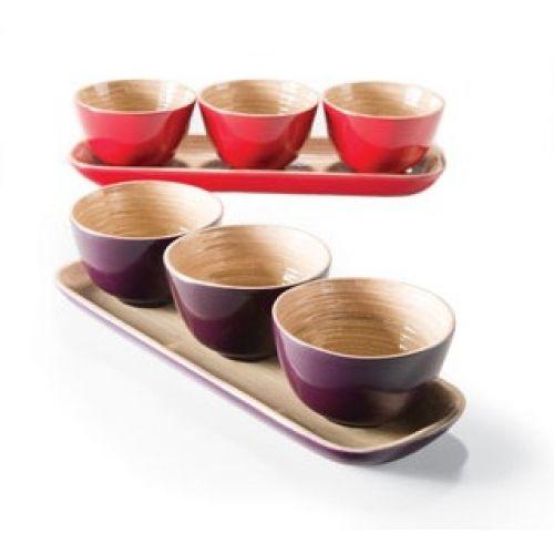 Set de 3 Cuencos y Bandeja de Bambú