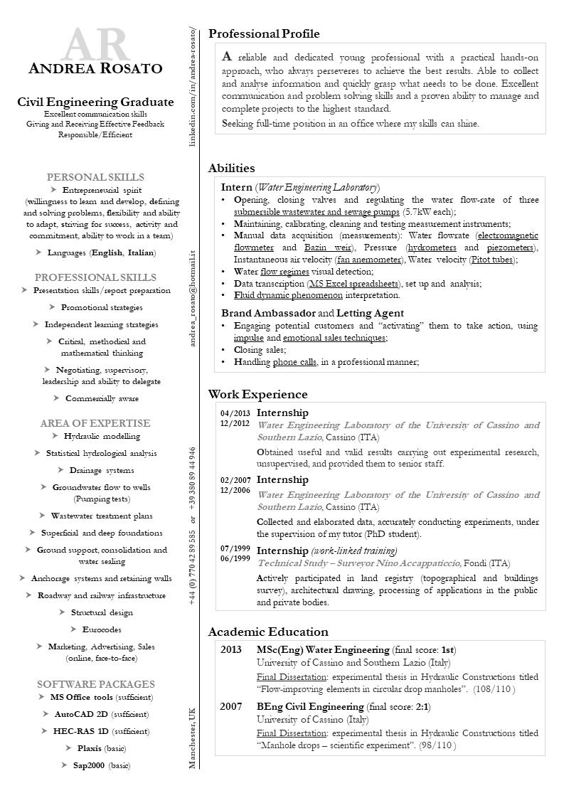 Curriculum Efficace Nella Colonna Di Destra Riporta Le Tue Hard Skills Assieme Alle Tue Esperienze Professionali Educazione E Profilo Prof Cv Curriculum Vitae