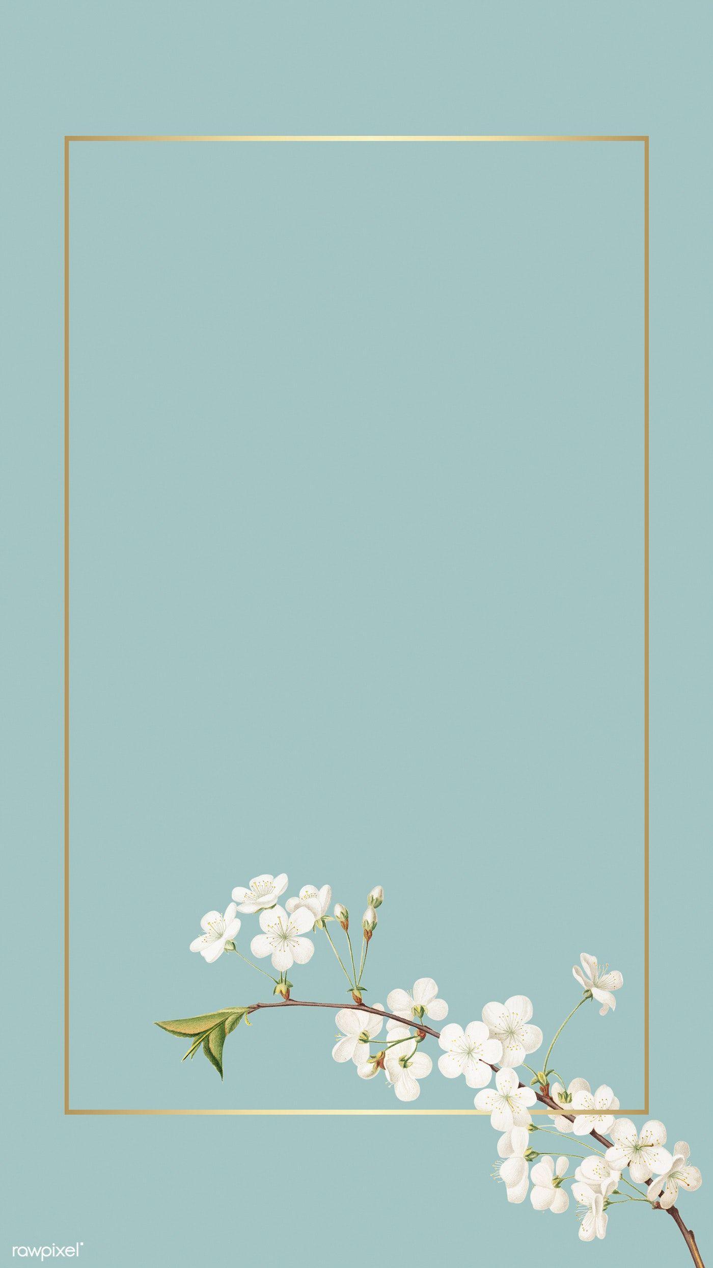 Tiny white flower on turquoise background mockup illustration | premium image by rawpixel.com / Adj / HwangMangjoo