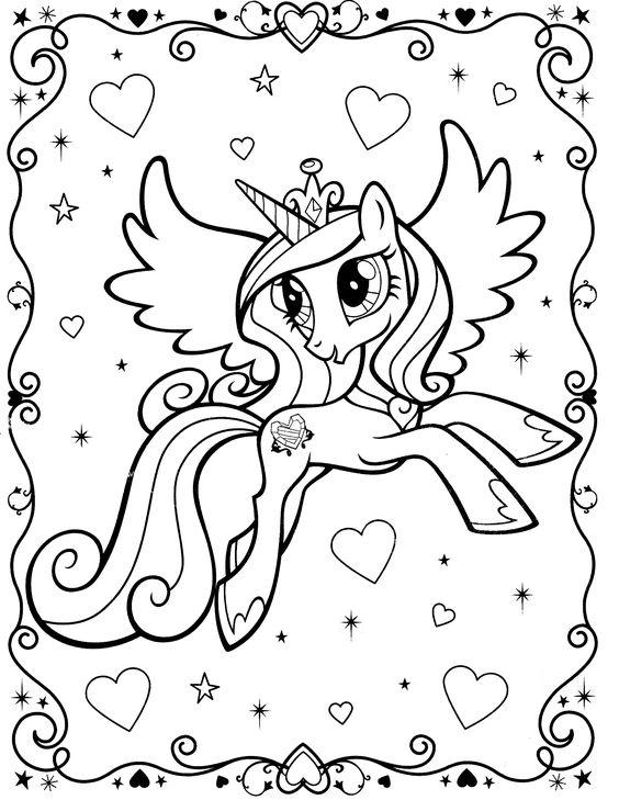 My Little Pony Unicorn Coloring Page With Border Hearts Glitter And Stars I Edited Out The Candance Buku Mewarnai Gambar Kuda Sketsa