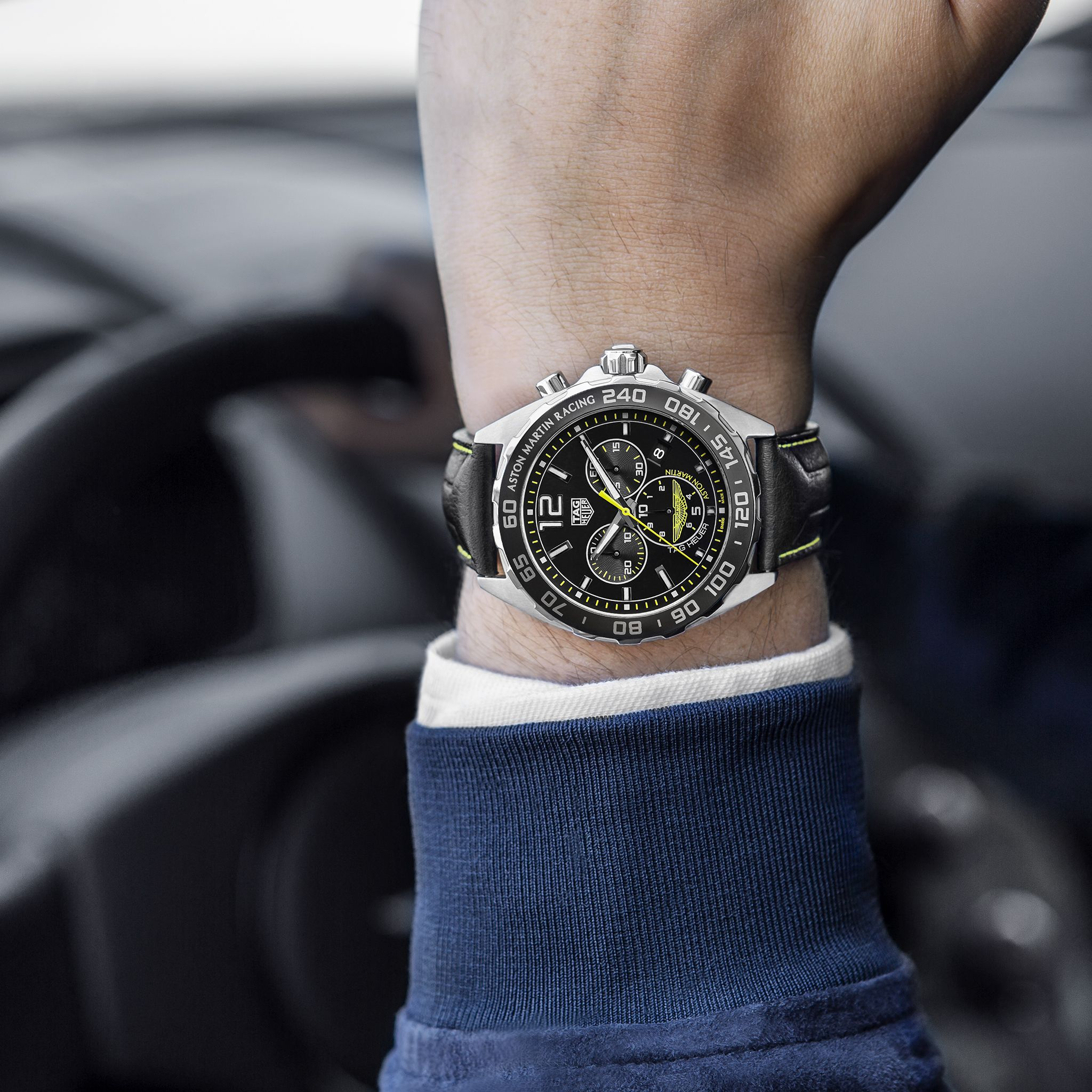 A Raw And Sleek Watch Inspired By The Curves Of The New Vantage Gte The Tag Heuer Formula 1 Aston Martin Racing Special Watches For Men Tag Heuer Sleek Watch