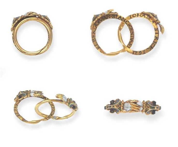 Traditional Italian Wedding Rings In The 1600 S Feature The Design Of Two Shaking Hands This Contractual Gest Old Jewelry Antique Jewelry Historical Jewellery