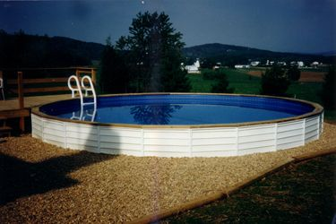 Freedom Above Ground Pool Installed Partially Inground With