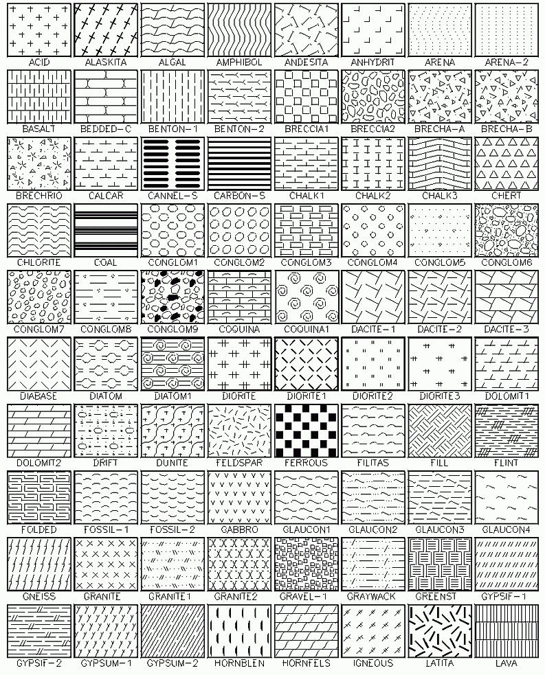Autocad hatch patterns a library containing 365 hatch for Wood floor hatch autocad