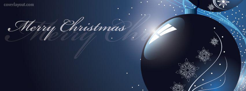 Merry Christmas Blue Ornament Facebook Cover CoverLayout.com ...