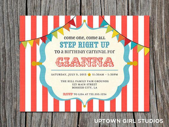 Carnival Invitation  Circus Invitation  Carnival Birthday