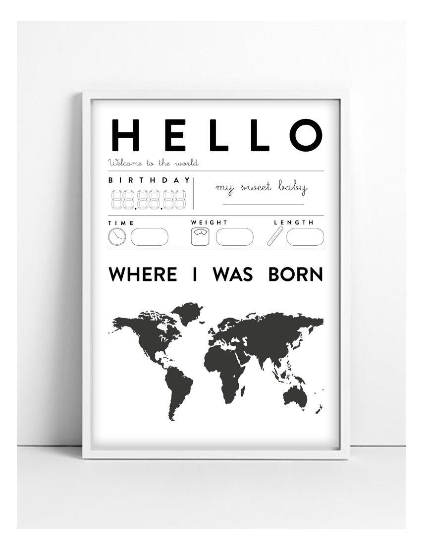 Čiernobiely obrázok Hello Baby A4