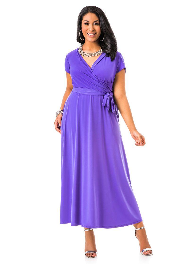 Capsleeve maxi dress ashley stewart purple people pleasers