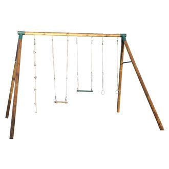 portique bois 4 agr s balan oire anneaux trap ze. Black Bedroom Furniture Sets. Home Design Ideas