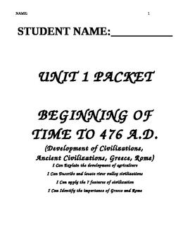 Unit 1 Packet: Ancient Civilizations and The Rise of