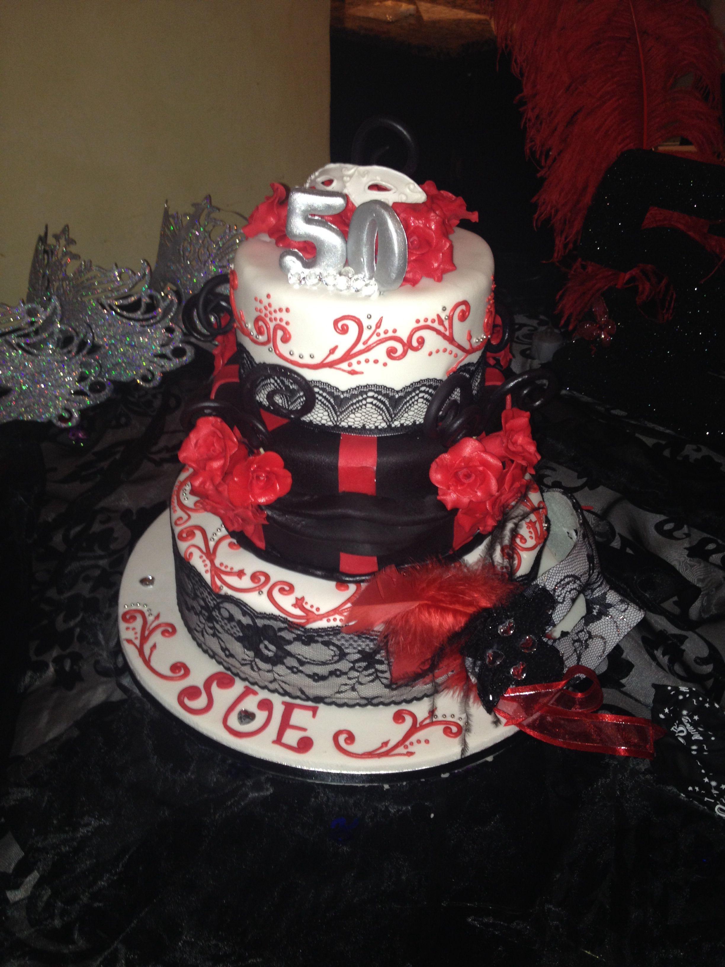 Strange 50Th Birthday Cake With Mask Theme Made By Fantasia Petite Bakery Funny Birthday Cards Online Fluifree Goldxyz