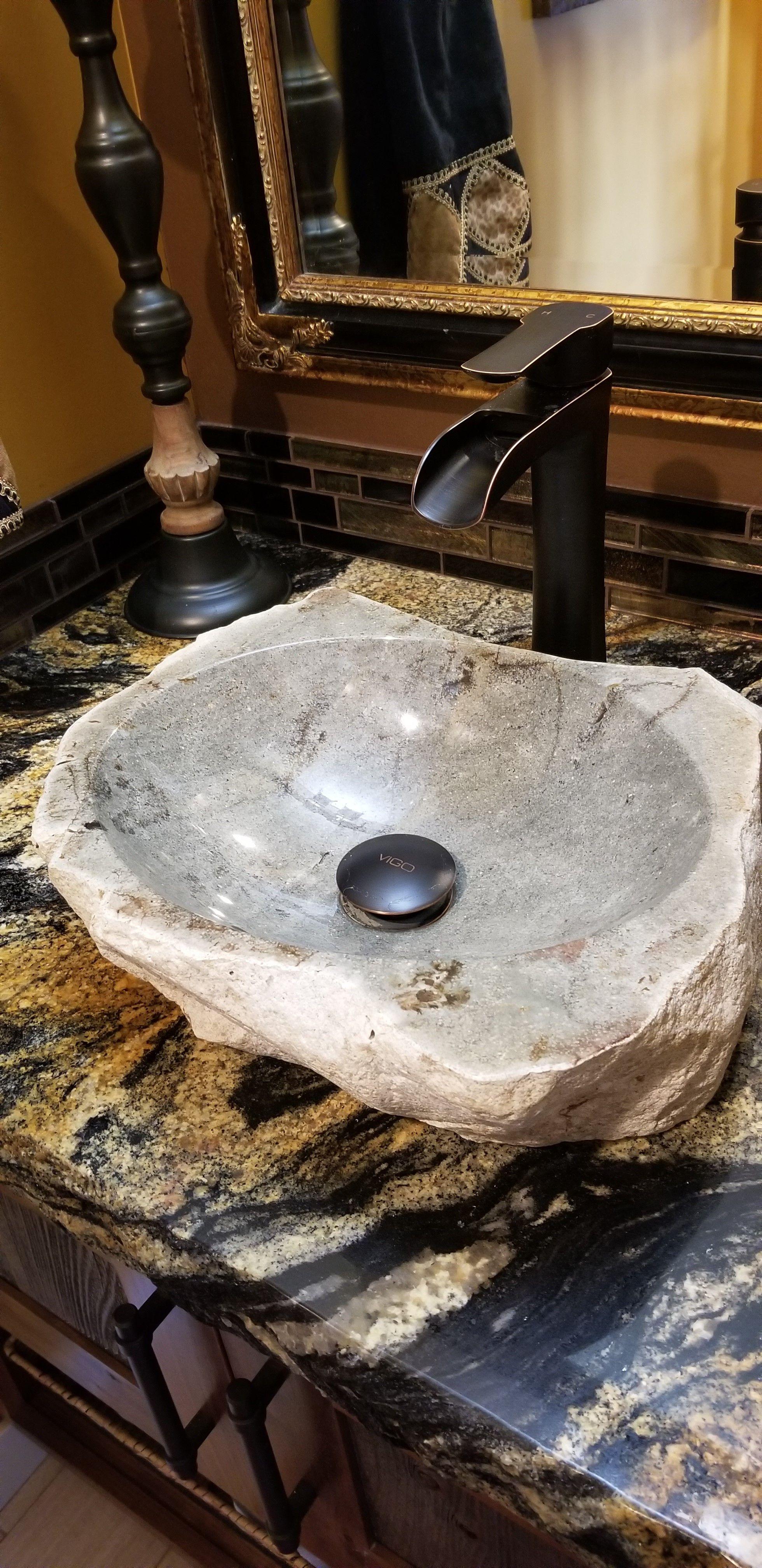Powder Bath Sink Made From A Rock Found On Our Property Amazing Bathrooms Bath Sinks Powder Bath What are bathroom sinks made of