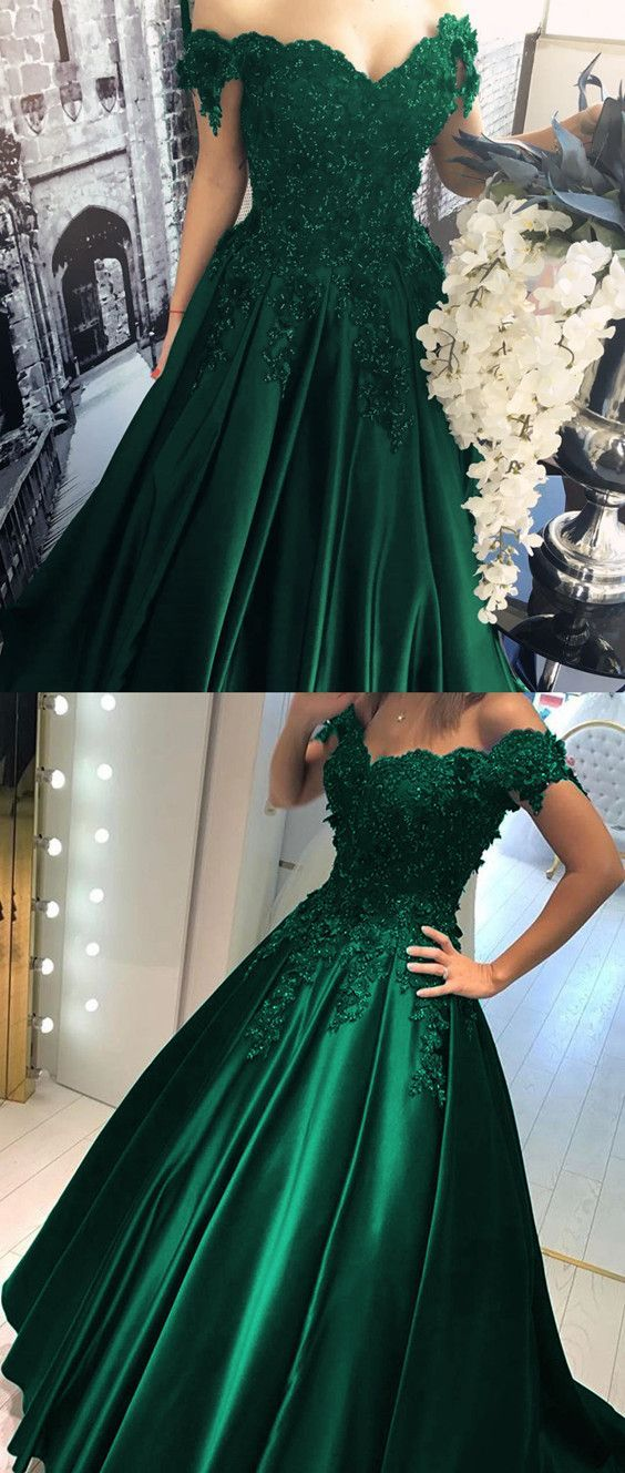 Satin Prom Dress Hunter Green Off Shoulders Ball Gown Prom Gown with ...