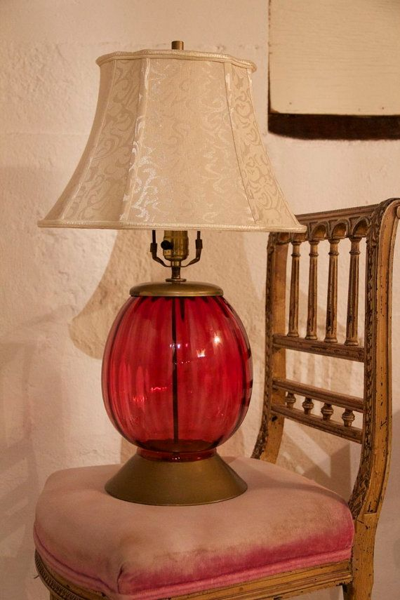 Vintage ruby red blown glass table lamp mid century retro vintage ruby red blown glass table lamp mid by lilythelamplady 5500 mozeypictures Gallery